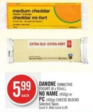 Danone Danactive Yogurt (8 X 93ml) - No Name (450g) or PC (400g) Cheese Blocks