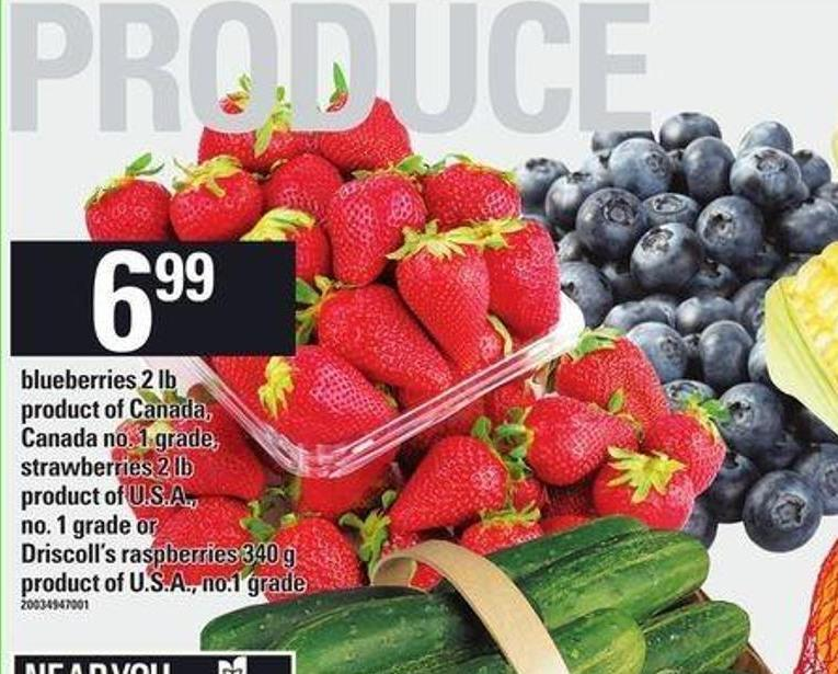 Blueberries 2 Lb - Strawberries 2 Lb or Driscoll's Raspberries - 340 g