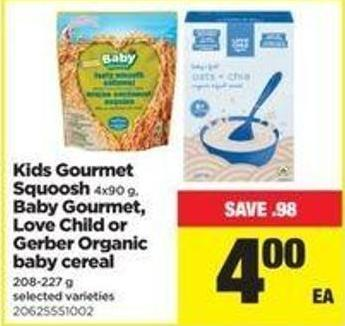 Kids Gourmet Squoosh 4x90 G - Baby Gourmet - Love Child Or Gerber Organic Baby Cereal - 208-227 G