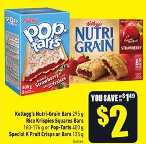 Kellogg's Nutri-grain Bars 295 g Rice Krispies Squares Bars 160-176 g or Pop-tarts 400 g Special K Fruit Crisps or Bars 125 g