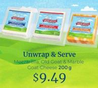 Woolwich Unwrap & Serve Mozzarella - Old Goat & Marble Goat Cheese - 200 g