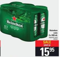 Heineken Cans - 6 X 500 Ml