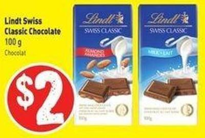 Lindt Swiss Classic Chocolate 100 g