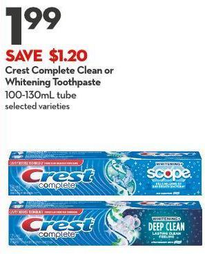 Crest Complete Clean or  Whitening Toothpaste 100-130ml Tube