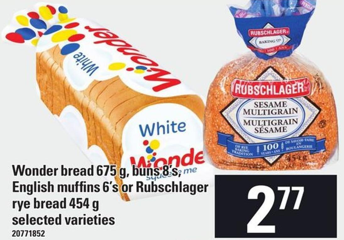 Wonder Bread 675 G - Buns 8's - English Muffins 6's Or Rubschlager Rye Bread 454 G
