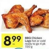 Bbq Chicken Legs Hot or Cold Ready To Go 4 Pk 720 g