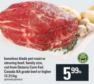 Boneless Blade Pot Roast Or Stewing Beef - Family Size