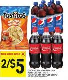 Coca-cola - Canada Dry - Pepsi Or 7up 6 X 710 Ml Tostitos Or Ruffles Chips