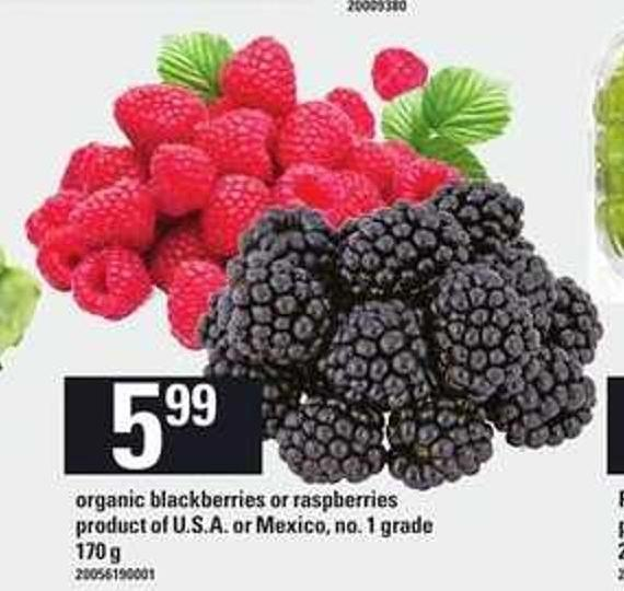 Organic Blackberries Or Raspberries - 170 G
