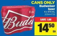 Budweiser Beer - 6 X 473 mL