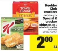 Keebler Club Crackers - 260-391 G Or Special K Cracker Chips - 113/127 G