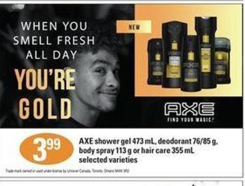 Axe Shower Gel - 473 Ml - Deodorant - 76/85 G - Body Spray - 113 G Or Hair Care - 355 Ml