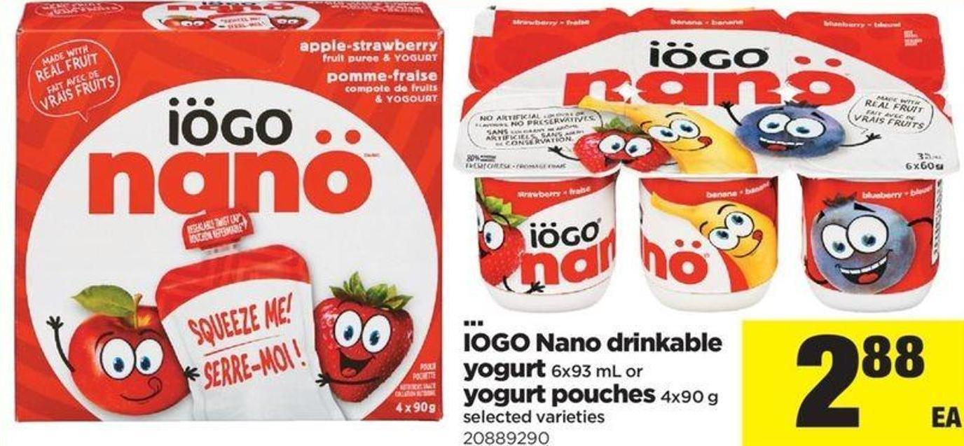 IOGO Nano Drinkable Yogurt - 6x93 Ml Or Yogurt Pouches - 4x90 G