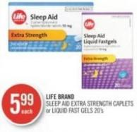 Life Brand Sleep Aid Extra Strength Caplets or Liquid Fast Gels 20's
