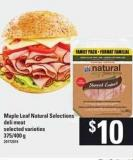 Maple Leaf Natural Selections Deli Meat.375/400 G