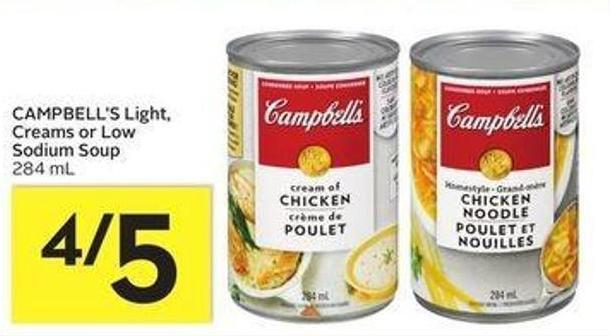 Campbell's Light - Creams or Low Sodium Soup