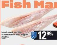Fresh Icelandic Cod Fillets Or Marinated Cod Fillets Tray Pack