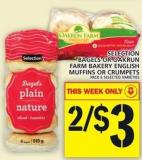 Selection Bagels Or Oakrun Farm Bakery English Muffins Or Crumpets