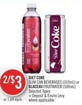 Diet Coke Slim Can Beverages (310ml) or Glaceau Fruitwater (500ml)
