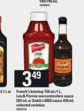 French's Ketchup - 750 Ml/1 L - Lea & Perrins Worcestershire Sauce - 284 mL Or Stubb's Bbq Sauce - 450 mL