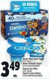 Danone Oïkos Greek Yogurt 4 X 95 - 100 g or Danino Drinkable Yogurt 8 X 93 ml