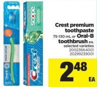 Crest Premium Toothpaste - 75-130 Ml Or Oral-b Toothbrush Ea.
