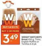 Weight Watcher's Bread 450 g - Thins - English Muffins or Tortillas 6-8 Pk