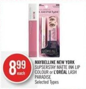 Maybelline New York  Supserstay Matte Ink Lip Colour or L'oréal Lash Paradise