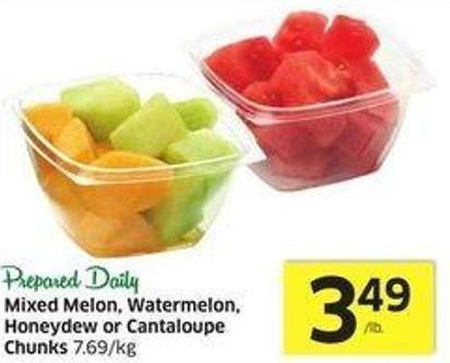 Mixed Melon - Watermelon - Honeydew or Cantaloupe Chunks 7.69/kg