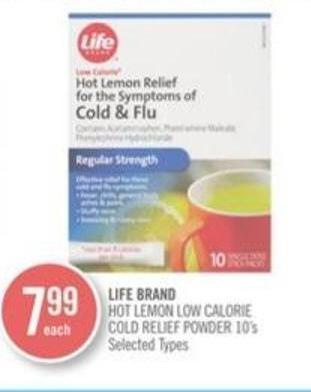 Life Brand Hot Lemon Low Calorie Cold Relief Powder 10's