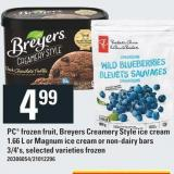 PC Frozen Fruit - Breyers Creamery Style Ice Cream 1.66 L Or Magnum Ice Cream Or Non-dairy Bars 3/4's