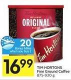 Tim Hortons Fine Ground Coffee 875-930 g - 20 Air Miles Bonus Miles