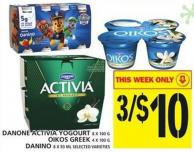 Danone Activia Yogourt Or Oikos Greek Or Danino