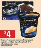 Chapman's Premium Ice Cream - Frozen Yogurt - Sorbet - 2 L Or Yukon - Super Novelties - 5-20's