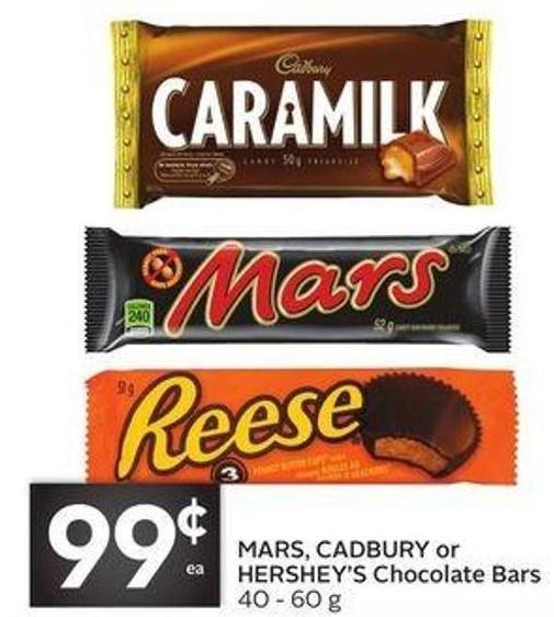 Mars - Cadbury or Hershey's Chocolate Bars