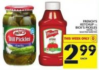 French's Ketchup 1 L Or Bick's Pickles 500 Ml - 1 L