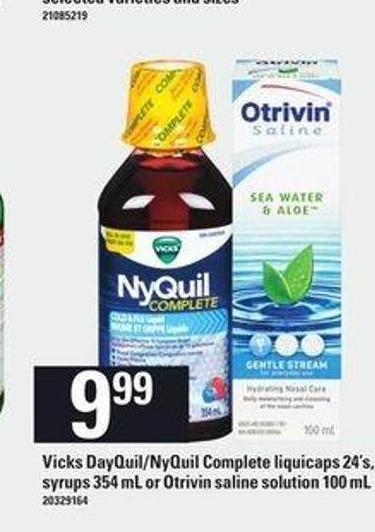 Vicks Dayquil/nyquil Complete Liquicaps 24's - Syrups 354 Ml Or Otrivin Saline Solution - 100 Ml