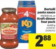 Bertolli Pasta Sauce - 415/630 Ml Or Kraft Dinner Four Pack - 4x225 G