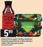 Danone Activia Yogurt - 12x100 G - Danactive Drinkable Yogurt - 8x93 Ml Or Stok Cold Brew Coffee - 1.42 L