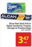 Alcan Non Stick Foil Or Ziploc Sandwich - Freezer - Storage or Produce Bags