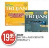 Trojan Bareskin Or Naked Sensation Condoms 24's