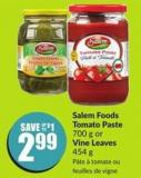 Salem Foods Tomato Paste 700 g or Vine Leaves 454 g