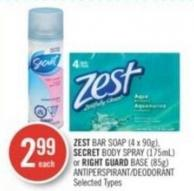 Zest Bar Soap (4 X 90g) - Secret Body Spray (175ml) or Right Guard Base (85g) Antiperspirant/deodorant