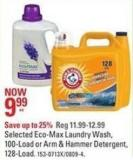Selected Eco-max Laundry Wash - 100-load - or Arm & Hammer Detergent - 128-load