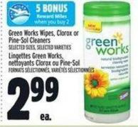 Green Works Wipes - Clorox Or Pine-sol Cleaners