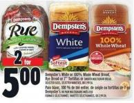 Dempster's White or 100% Whole Wheat Bread - Rye Bread or 7in Tortillas