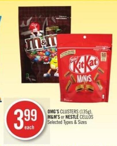 Omg's Clusters (135g) - M&m's or Nestlé Cellos