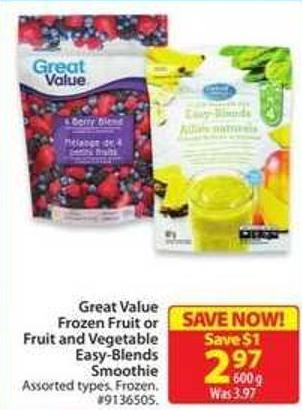 Great Value Frozen Fruit or Fruit and Vegetable Easy-blends Smoothie