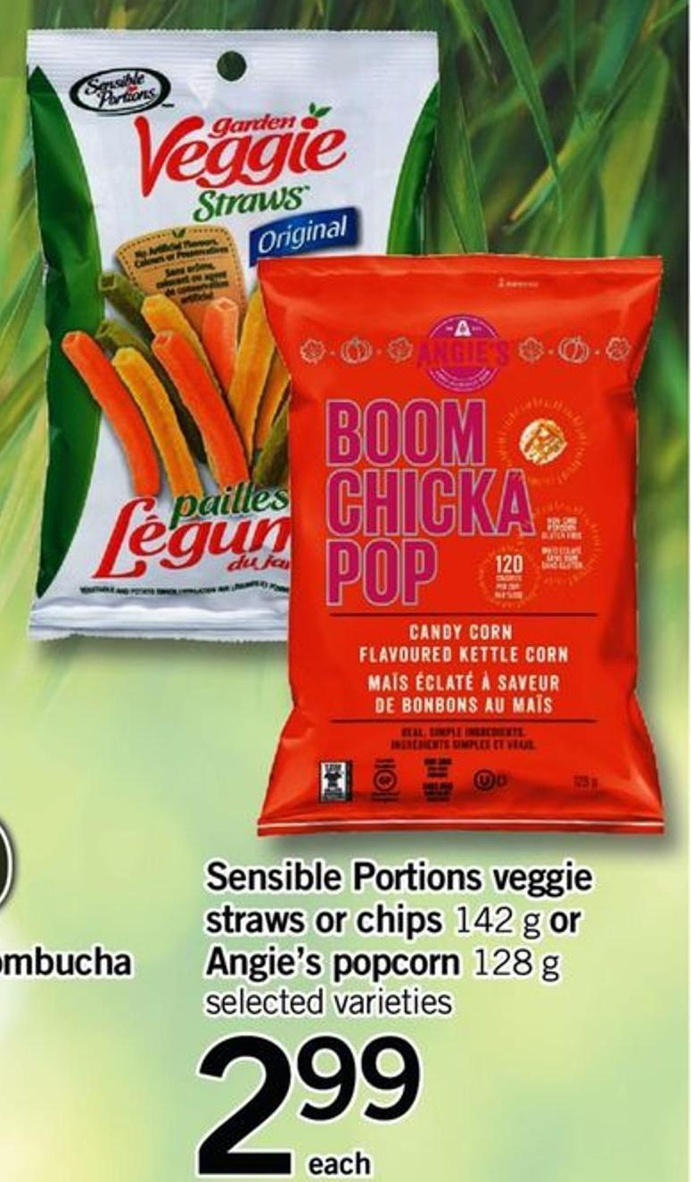 Sensible Portions Veggie Straws Or Chips - 142 G Or Angie's Popcorn - 128 G