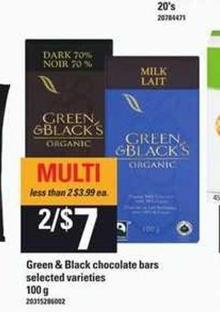 Green & Black Chocolate Bars - 100 g